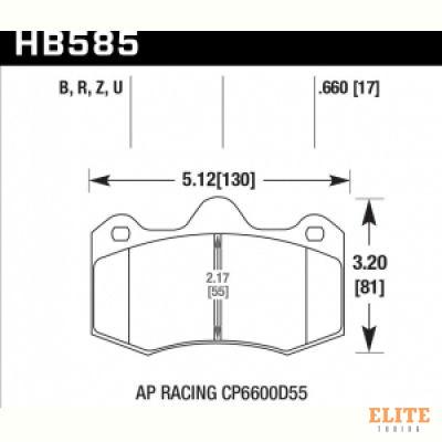 Колодки тормозные HB585R.660 HAWK Street Race; 17mm