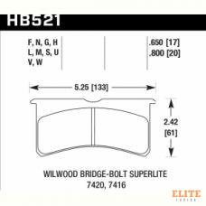 Колодки тормозные HB521N.650 HAWK HP Plus Wilwood 6 порш. 4 порш. 17 mm