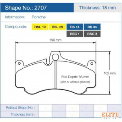 Колодки тормозные 2707-RSC1 PAGID RSC1 передние PORSCHE 911 997 ceramic brakes, GT3; 996 GT2