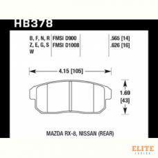 Колодки тормозные HB378F.565 HAWK HPS Mazda RX-8, Nissan (Rear) 14 mm
