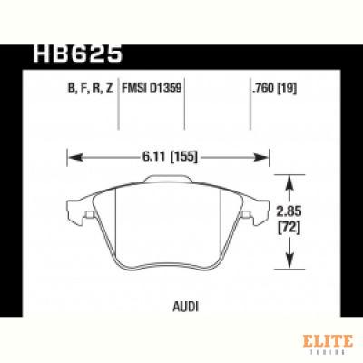 Колодки тормозные HB625N.760 передние Audi TT (8J) / S3 (8P) / Volkswagen Golf R