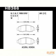 Колодки тормозные HB366F.681 HAWK HPS передние  Honda Civic+ EU,EP 1,8 / FD1,3   Accord