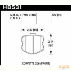 Колодки тормозные HB531F.570 HAWK HPS Corvette Z06 2006-2013