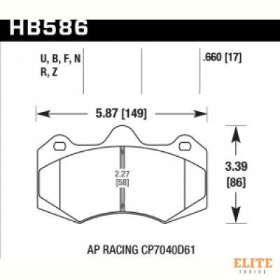 Колодки тормозные HB586R.660 HAWK Street Race AP Racing CP7040, CP9040; 17mm