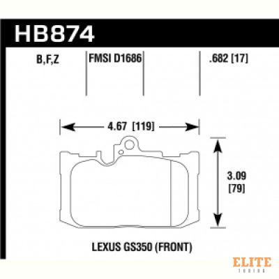 Колодки тормозные HB874Y.682 LTS перед LEXUS GS; RC;