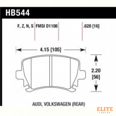 Колодки тормозные HB544R.628 HAWK Street Race задние AUDI TT 8J, A6, Allroad 4H, A3 / VW Golf 5,6 ,