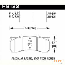 Колодки тормозные HB122N.710 HAWK HP+  ALCON CAR89 / AP RACING / Stop Tech ST-60