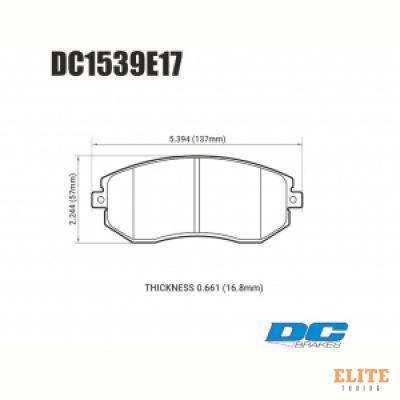 Колодки тормозные DC1539E17 DC Brakes RT.2 перед Subaru BRZ, Toyota GT 86, Forester, Impreza 2011->