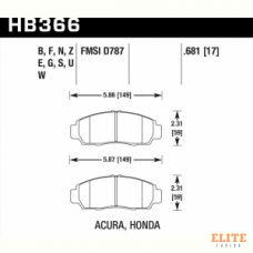 Колодки тормозные HB366N.681 HAWK HP Plus