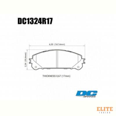 Колодки тормозные DC1324R17 DC Brakes Street HD+, перед Lexus RX350 2010-> ; HIGHLANDER 2010->