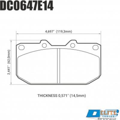 Колодки тормозные DC0647E14 DC Brakes RT.2 передние SUBARU Impreza WRX; Nissan 300ZX; HPB тип 1;