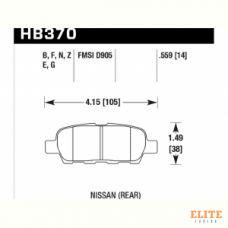 Колодки тормозные HB370F.559 HAWK HPS задние INFINITI FX / G / M ; Nissan 350Z