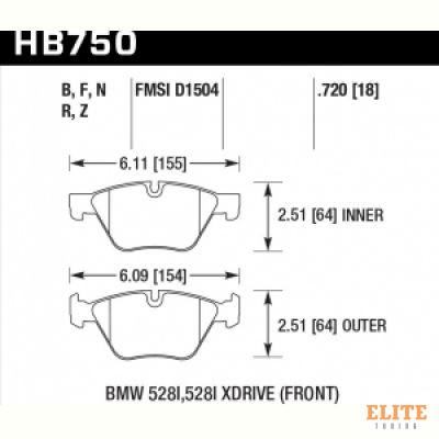 Колодки тормозные HB750R.720 HAWK Street Race BMW 5 F10; 5 F11; 5 F18; 18mm