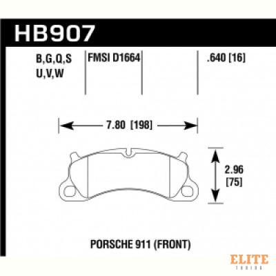 Колодки тормозные HB907N.640 перед Porsche 911 Carrera S 2011-15 ; Boxster Spyder 981