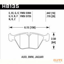 Колодки тормозные HB135B.760 HAWK HPS 5.0  передние BMW 5 (E34) / 7 (E32) / M3 3.0 E36