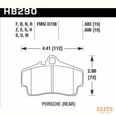 Колодки тормозные HB290N.583 HAWK HP+ задние PORSCHE 911 (997), (986), (996), Cayman