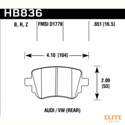 Колодки тормозные HB836B.651 HAWK HPS 5.0 VOLKSWAGEN Alltrack  задние