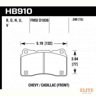 Колодки тормозные HB910N.590 HP Plus передние Lancer Evo V-X; SUBARU WRX STI; MEGAN RS; TESLA S, X