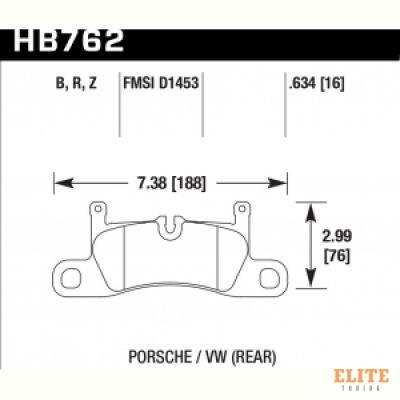 Колодки тормозные HB762Z.634 HAWK PC; задние PORSCHE CAYENNE 92A, VW TOUAREG 7P5 2010->