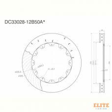 Ротор тормозного диска 330*28mm, DC Brakes DC33028-12B50AL, крепеж под болты, левый