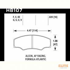Колодки тормозные HB107U.620 HAWK DTC-70 ALCON H type; AP RACING; HPB тип 5; PROMA 4 порш