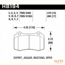 Колодки тормозные HB194N.570 HAWK HP+  Brembo тип A, C, F / JBT CM4P1