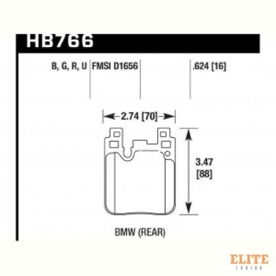 Колодки тормозные HB766Z.624 задн. BMW M4 F82, F32; M3 F80 F30; F20 F22 F87 M-Performance
