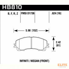 Колодки тормозные HB810F.624 HAWK HPS перед INFINITI Q50 2013-> ; QX50 2018-> ; Q60 2016->