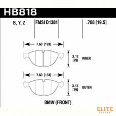 Колодки тормозные HB818Z.768 HAWK PC BMW X5 xDrive50i передние