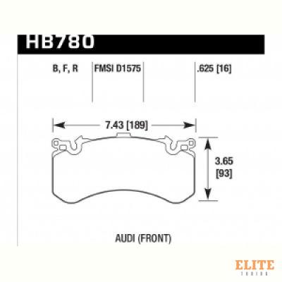 Колодки тормозные HB780N.625 HAWK HP Plus; перед AUDI A6, S6, A7 4G; A8 S8 4H; PR 1LU, 1LX, 1LN