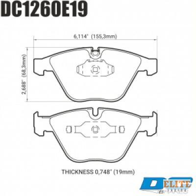 Колодки тормозные DC1260E19 DC brakes RT.2; передние BMW E90,91,92, 335i, M3 E90, E60, E63